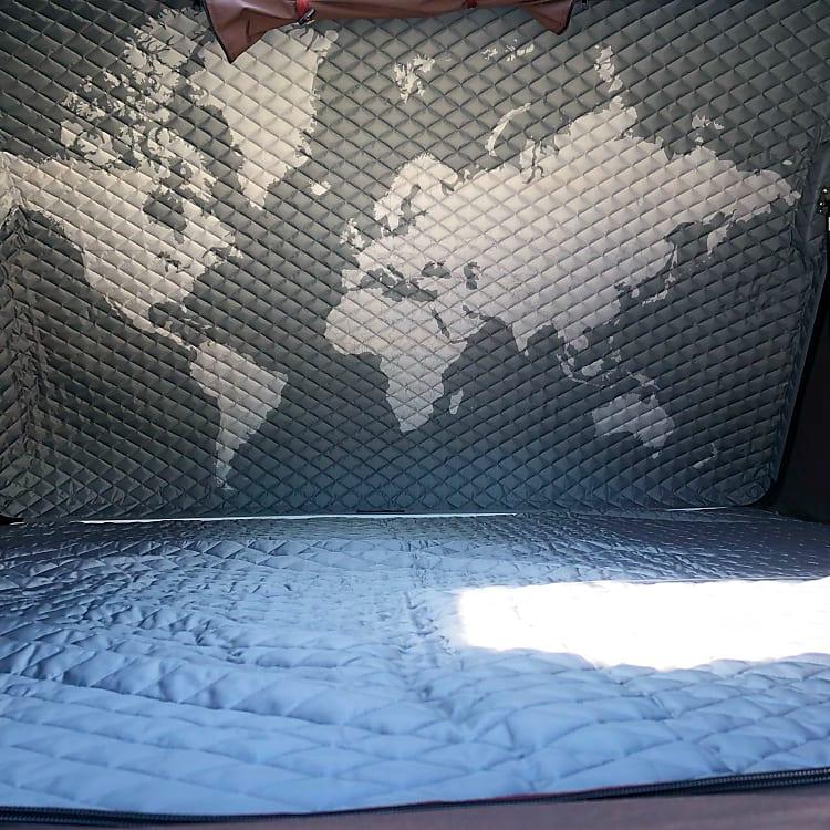rooftop tent interior- Cal King size mattress