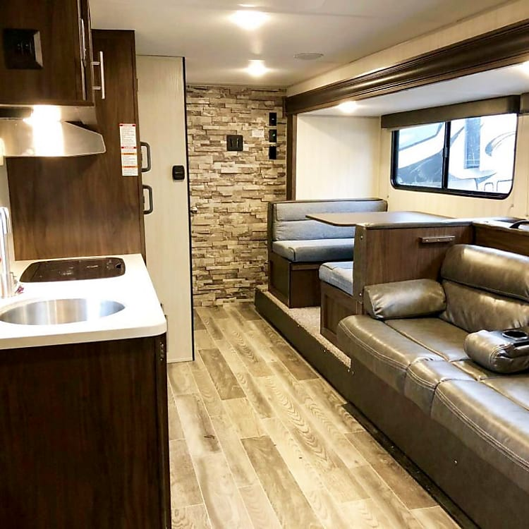 The slideout gives this camper room for several people to move around in.