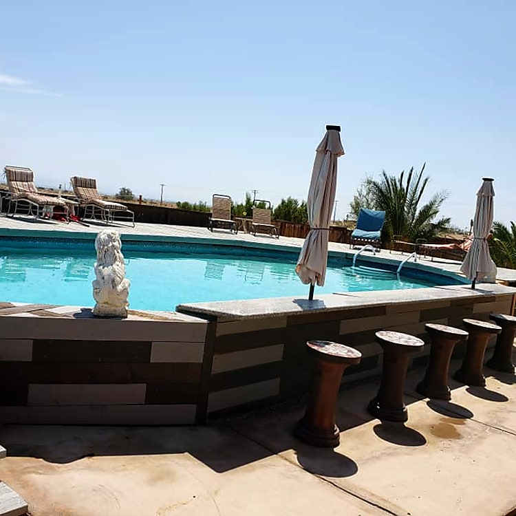 Backyard Pool Bar of Adjacent House Rental.  Pool and Spa can be included with 5th Wheel Rental for Additional $50 per night if house is not rented.