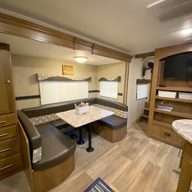 main living area. dinette folds down into bed