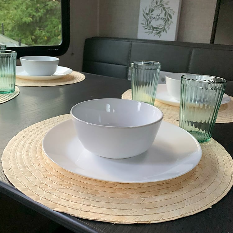 Plates, Bowls, Flatware and drink ware included