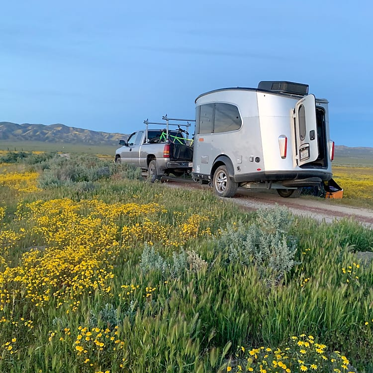 Airstream Basecamp for rent. This one is tucked away on a dirt road in Carizzo Plain