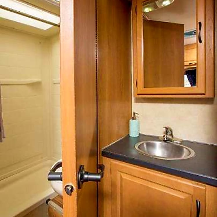 Complete bathroom with the convenience of use anywhere your adventure takes you, including hot water.
