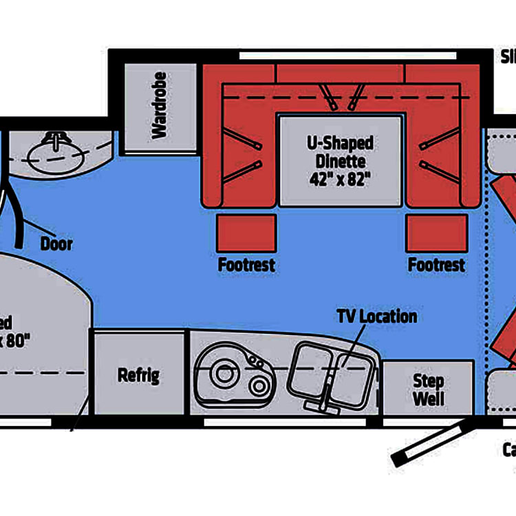Floorplan of the 2018 Navion J- shows with slide extended & two forward cab chairs facing family area.