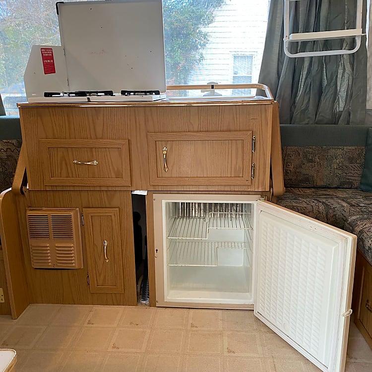 cook top, drawer, fridge