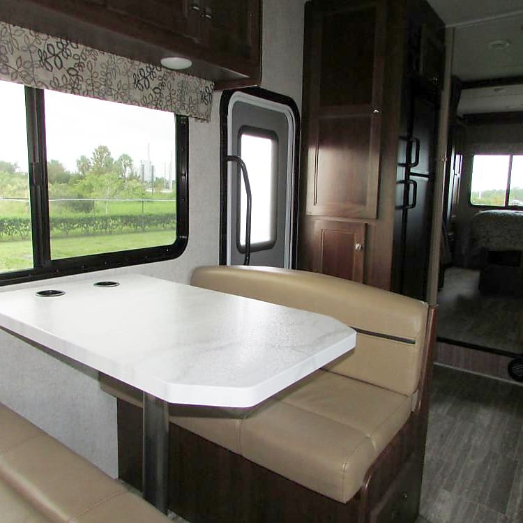 Dinette folds down into a full sleeper