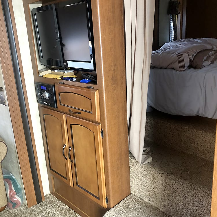 Here is the TV and entertainment center.