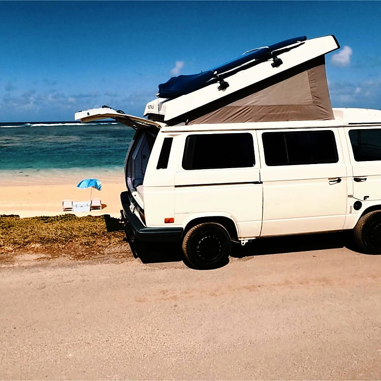 Come beachside it with the Westy! Can't get these views at a hotel.