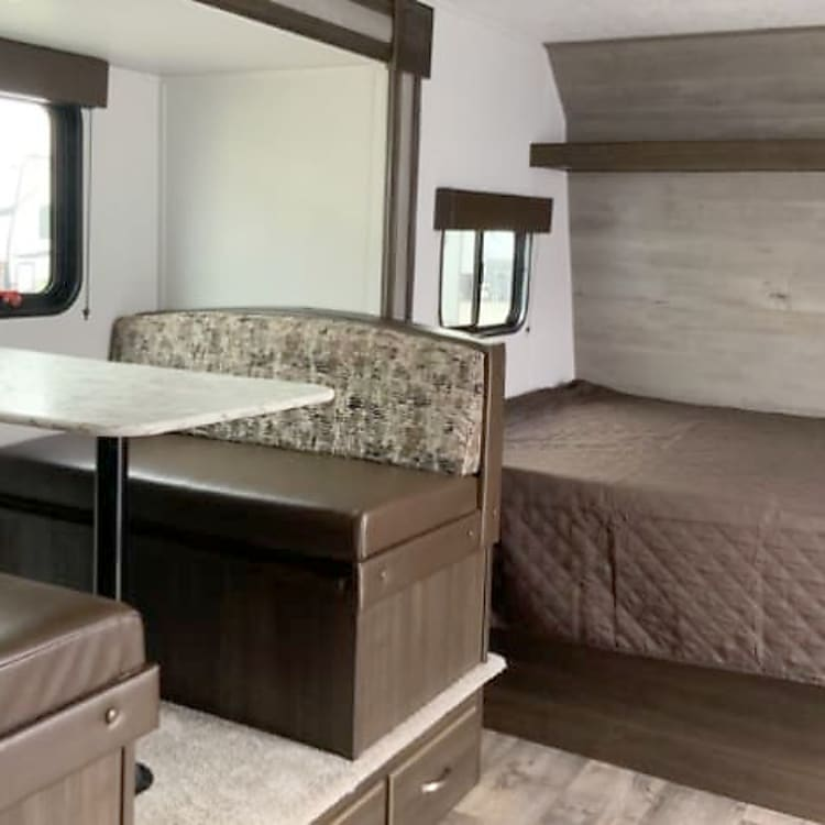 dining area is extended for more space.  Queen size bed.