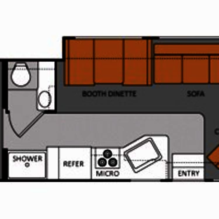 Floor plan, however the bathroom and shower are switched.