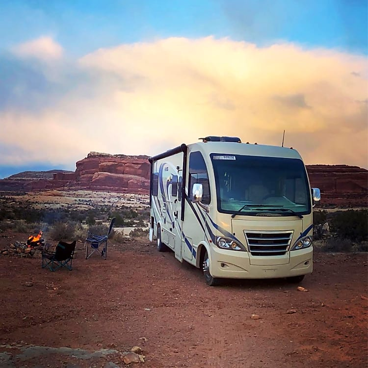 Here she is camped out between Moab & Canyonlands.  Self sufficient with Propane, Battery & Generator.