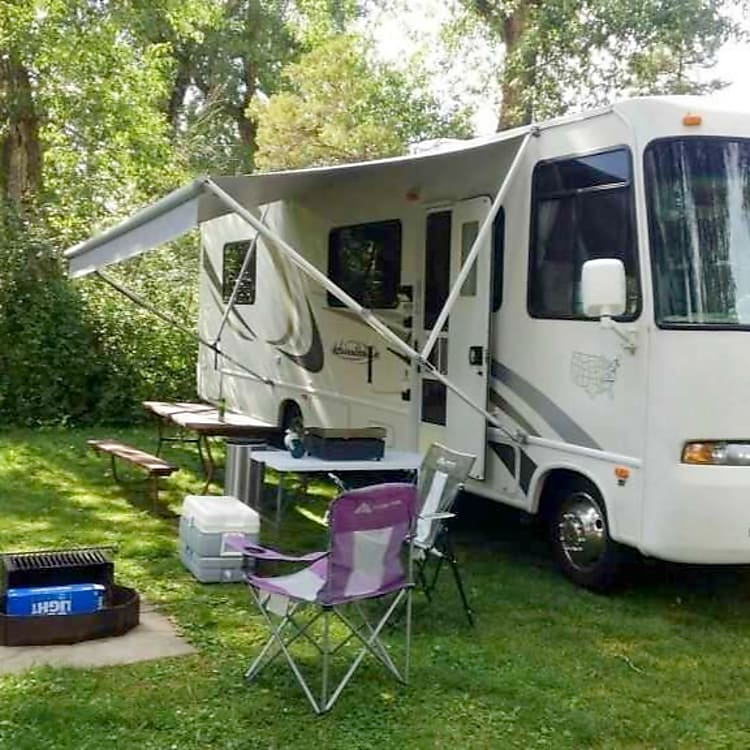 Roaming RV Hot Spots LLC 30 foot Claas A with plenty of outside storage and electric power outlets.