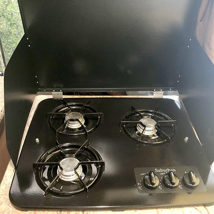 Propane stove rarely used.
