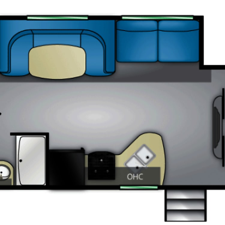 Floorplan - 3 rear bunks with dinette that converts to 4th bunk