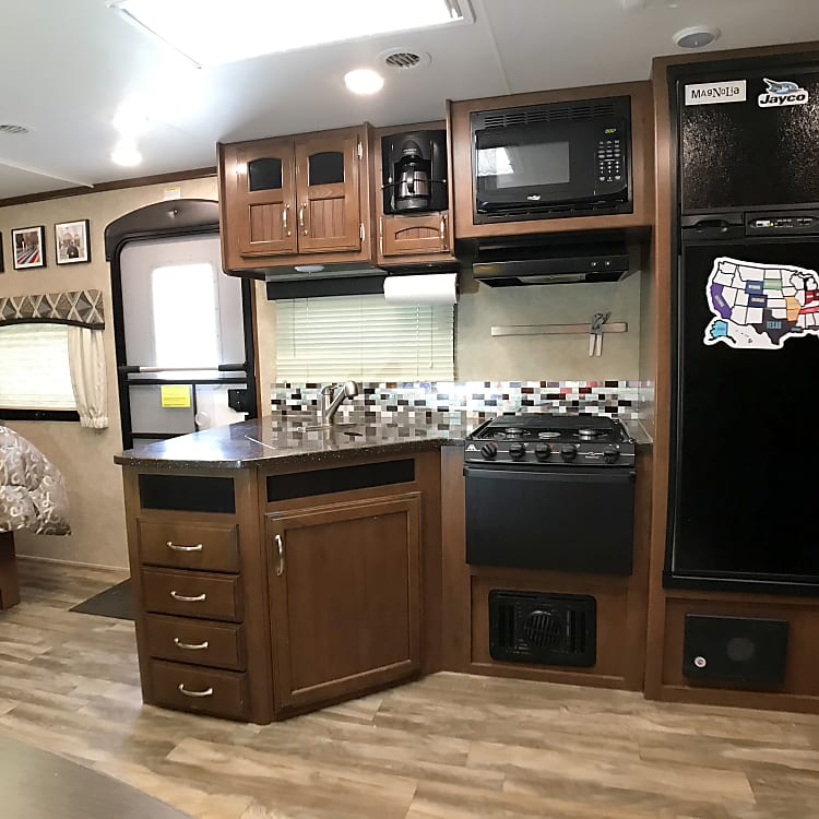Kitchen and living area are very open