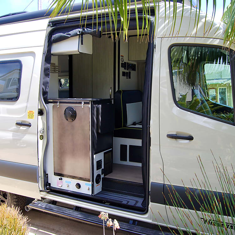Automatic everything including sliding door.