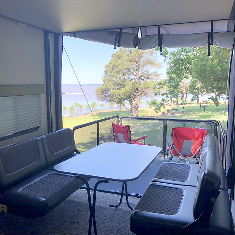 Dining table setup with patio option.