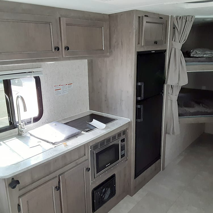 NICE KITCHEN WITH FULL SIZE REFRIGERATOR