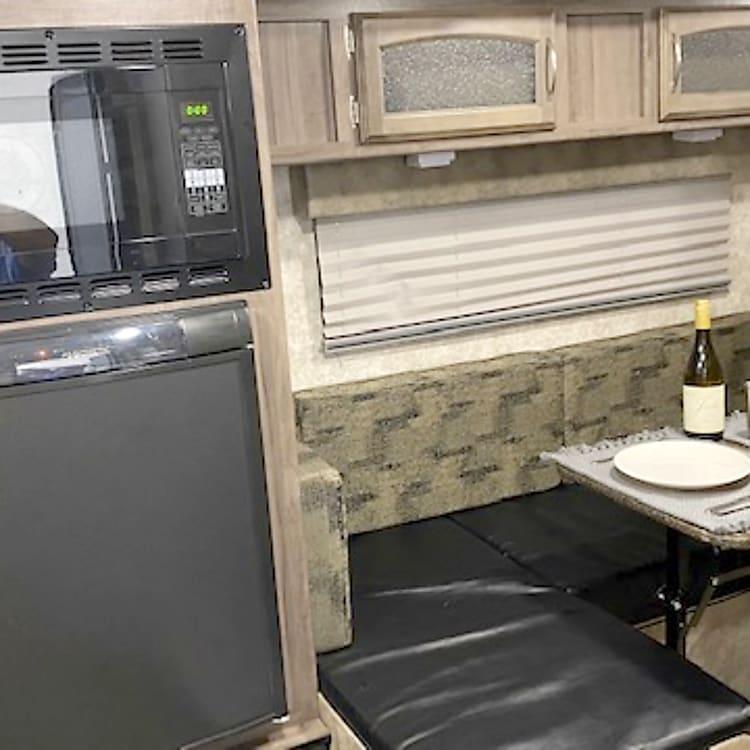 Microwave and fridge (mini freezer)