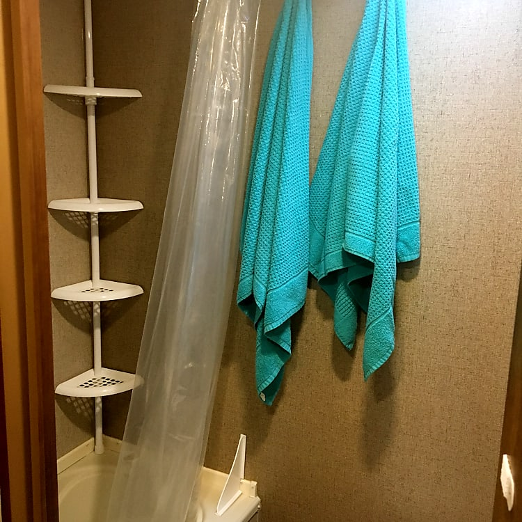 Shower with storage rack