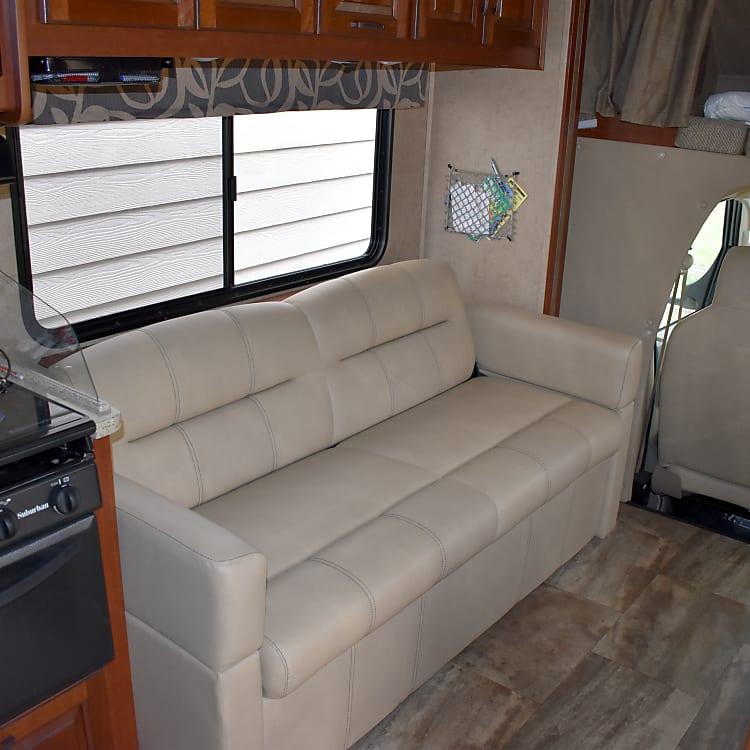 Sofa in main coach area