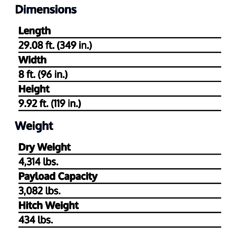 Dimensions and Weight