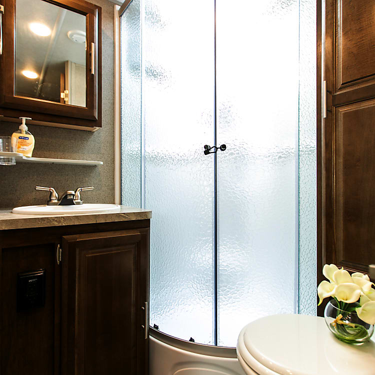 Shower with double glass door