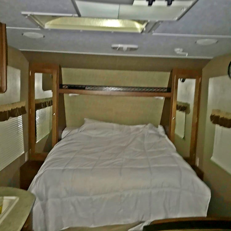 Queen Size Bed on Camper Travel Trailer