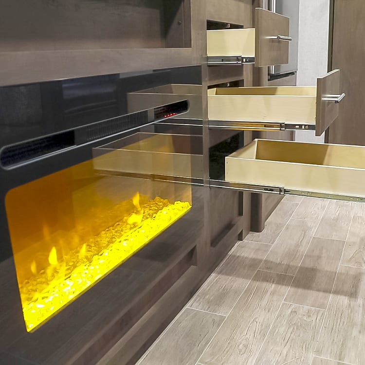 Electric fireplace - changes colors & can turn the heat off & enjoy for mood lighting