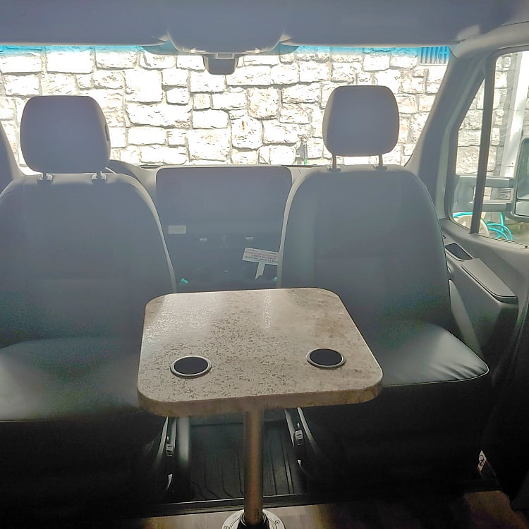 Captain seat spin to face the RV plus added table