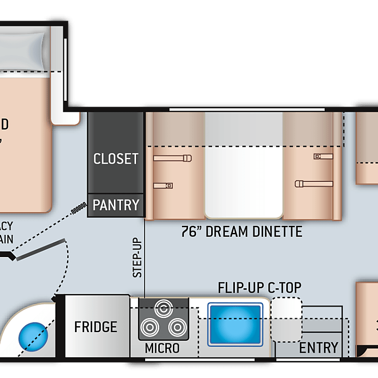 Great floorplan, walk around bed, large bathroom