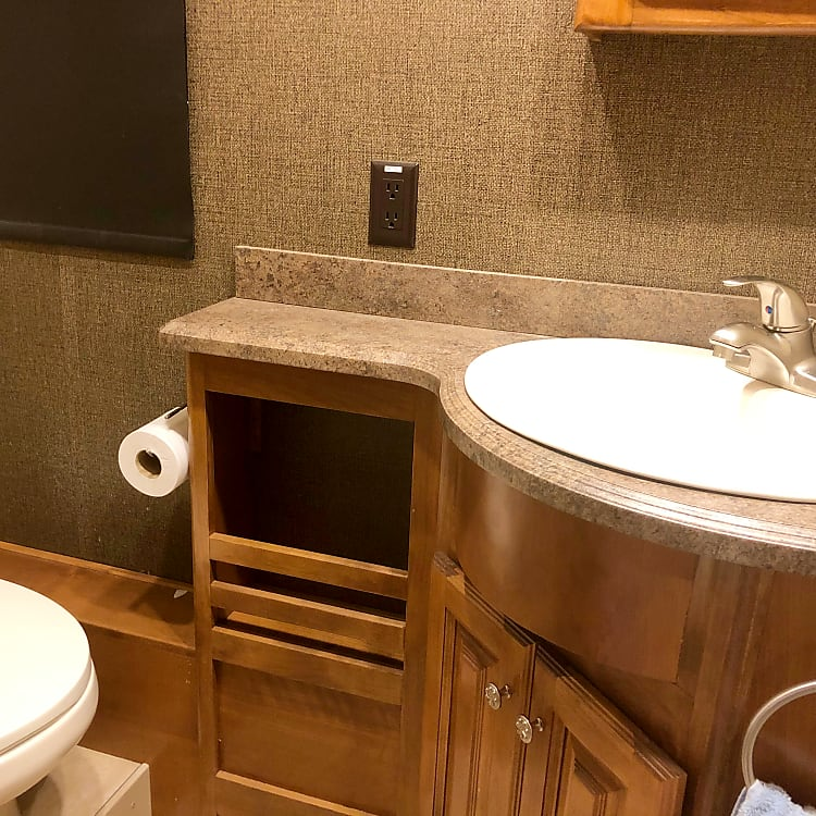 1st bathroom next to fireplace