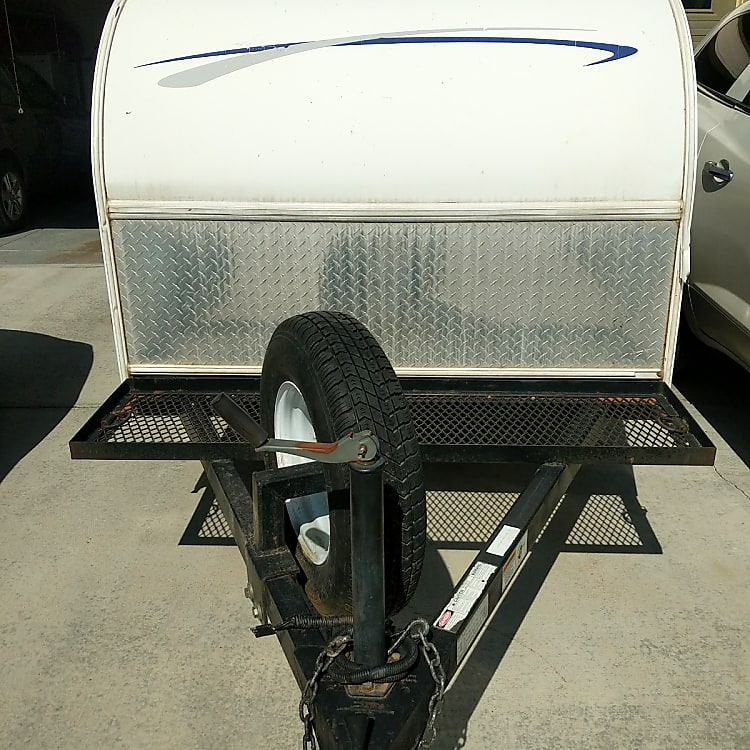 Great rack on the trailer for extra storage, bikes, cooler or fire wood