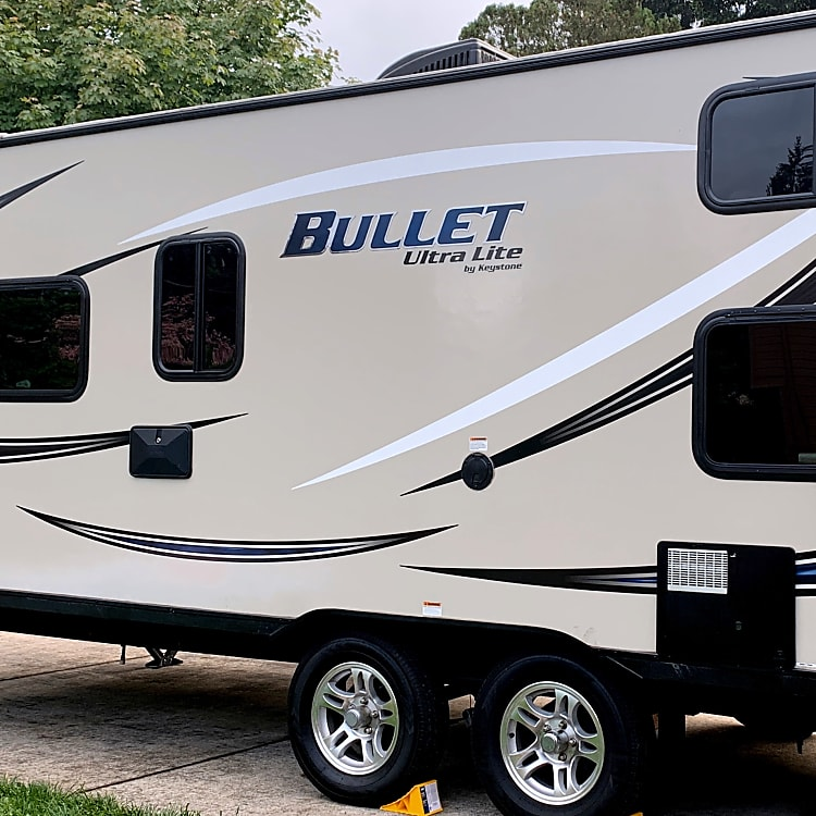 Light weight! With all the amenities - outdoor grill, shower, speakers!