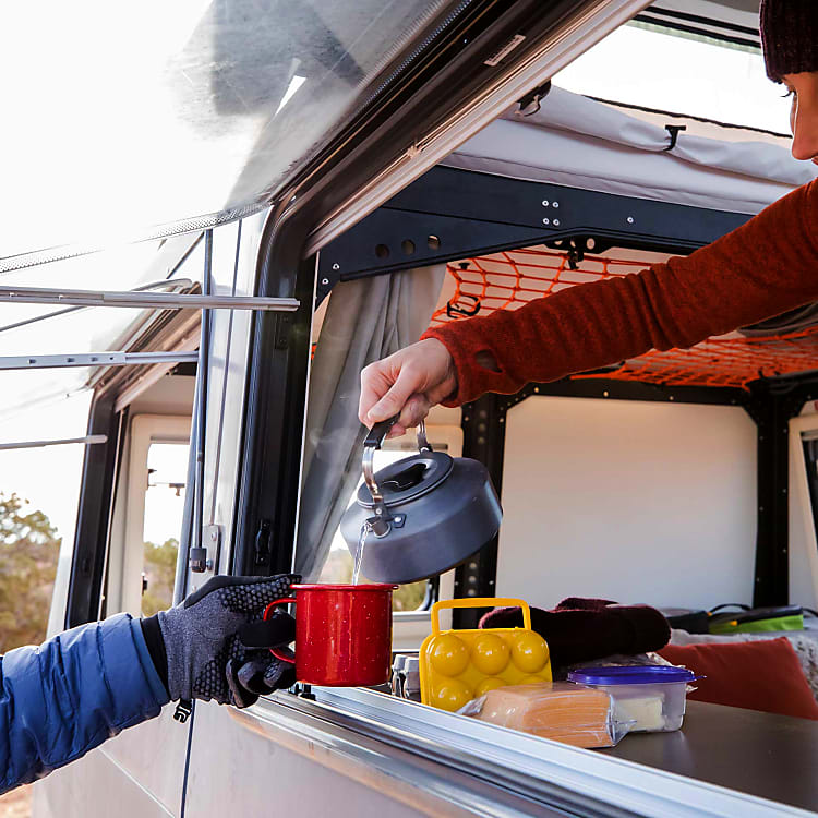 Pass through windows similar to a food truck to make meals easier!