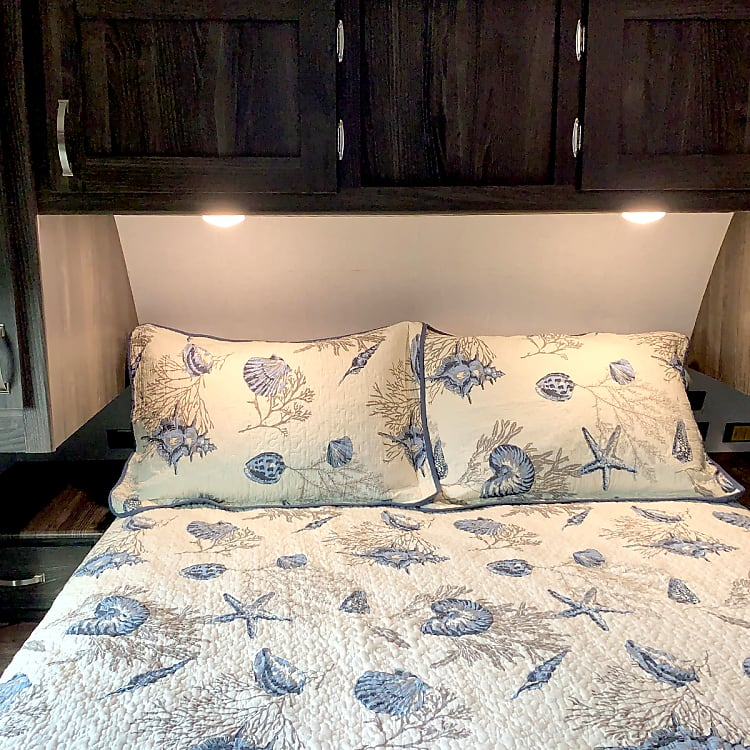 Comfortable master suite, USB charging ports conveniently located on each side of the bed.