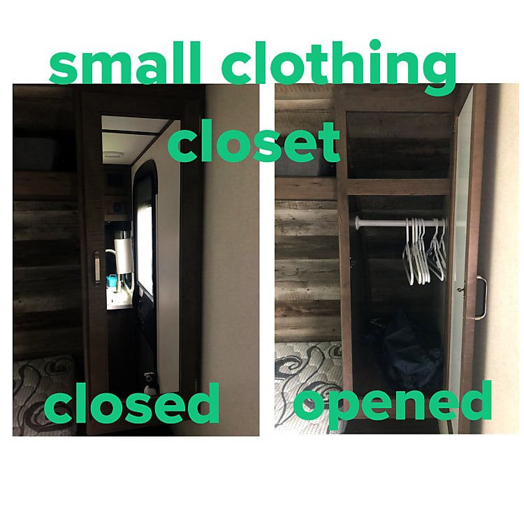 Small clothing closet to the right of the queen bed