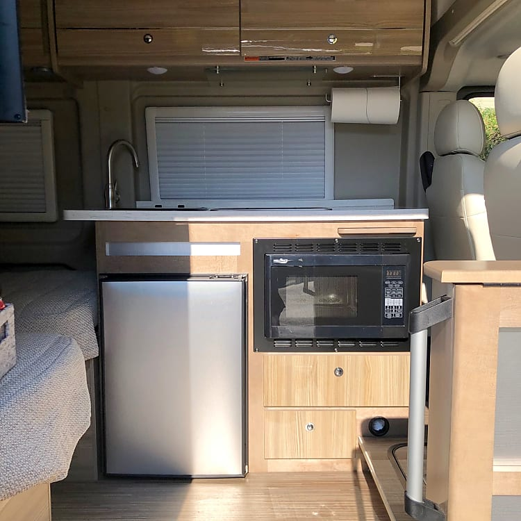 The Galley - Includes a sink, microwave/convection oven, stove, refrigerator with a small freezer, two drawers, and a cabinet pantry above