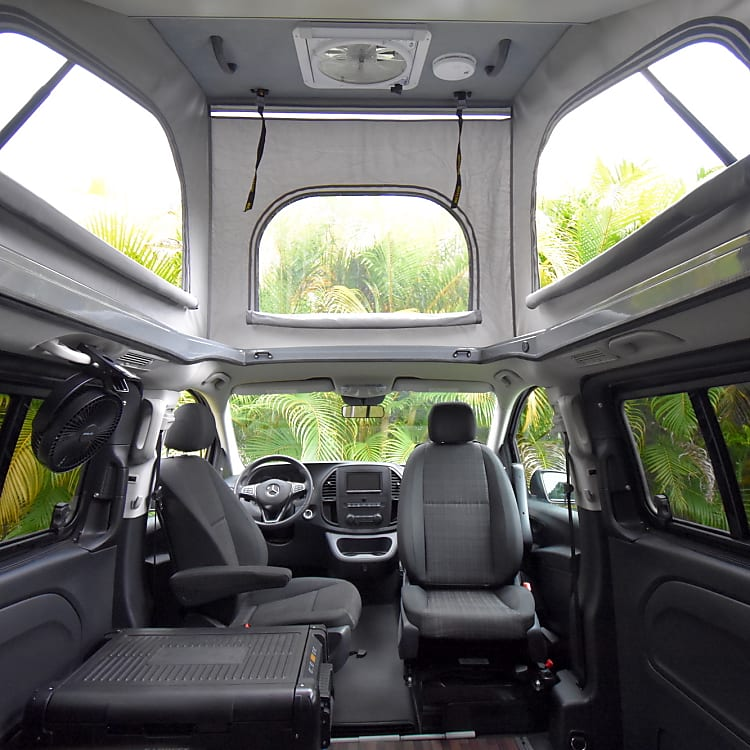 Back Seat View with Top and Bed Raised