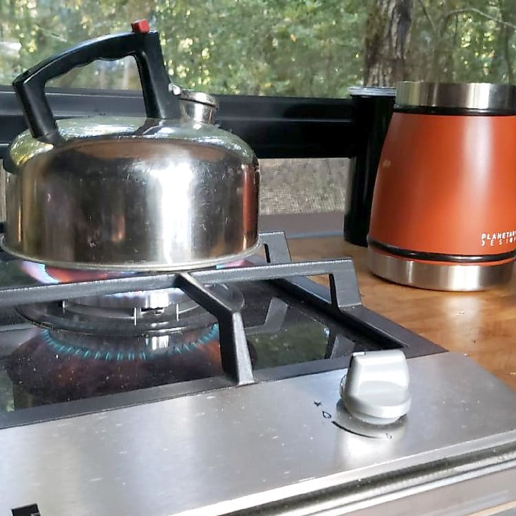 Propane Stove with tea kettle and french press