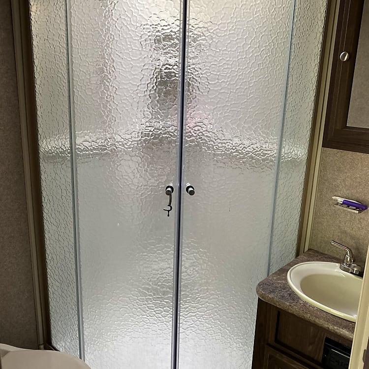 Shower, toilet, sink