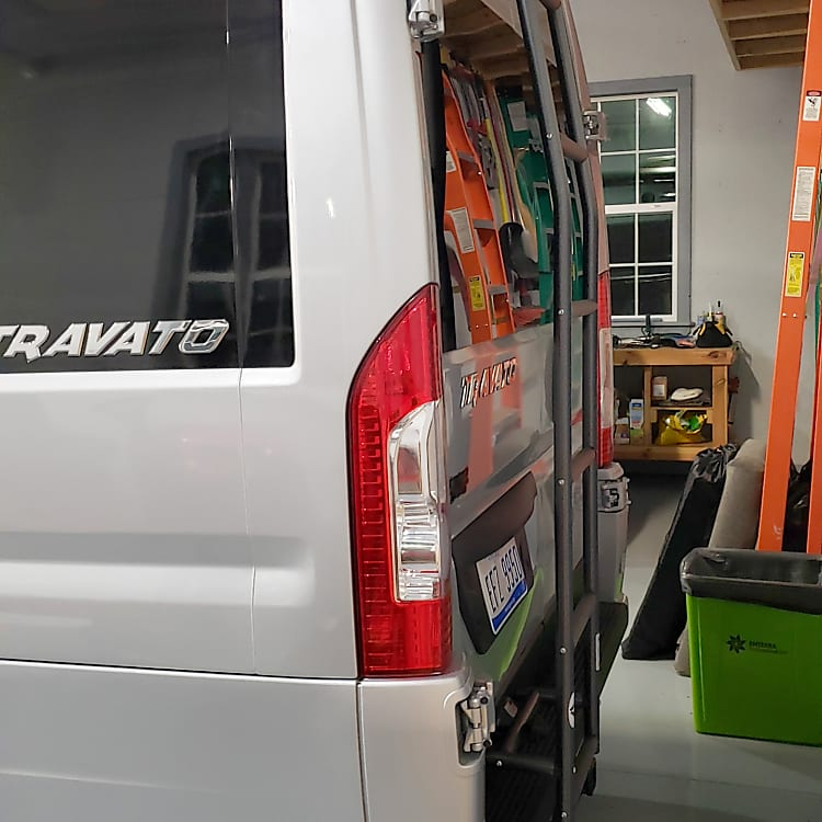 handy rear ladder can be used around the van