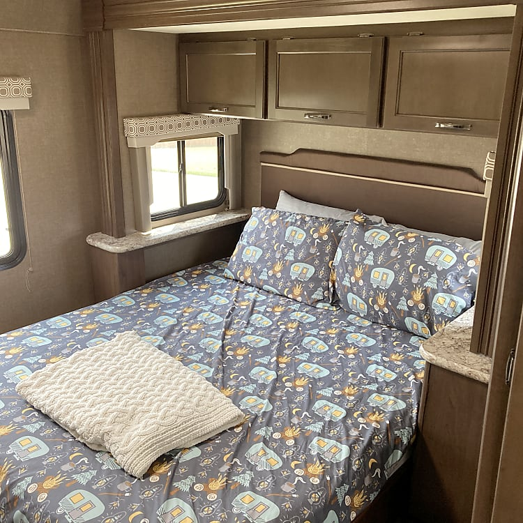 The queen size bed is comfortable and secluded  It has multiple storage options above and around, and a panel of USB ports for charging mobile devices