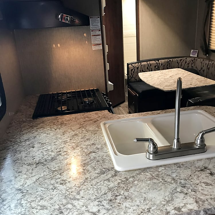 Double sink with lots of counter space