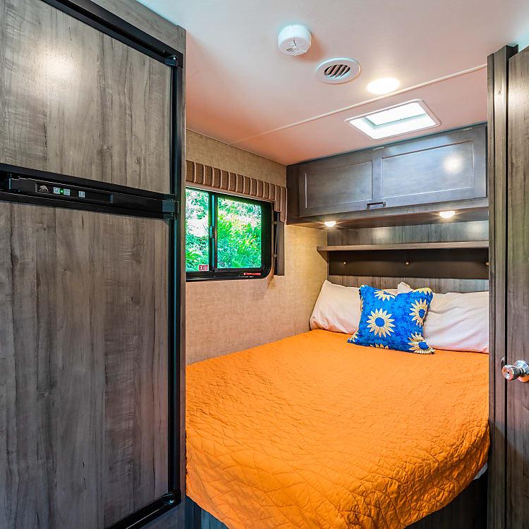 Overhead storage in the master bedroom