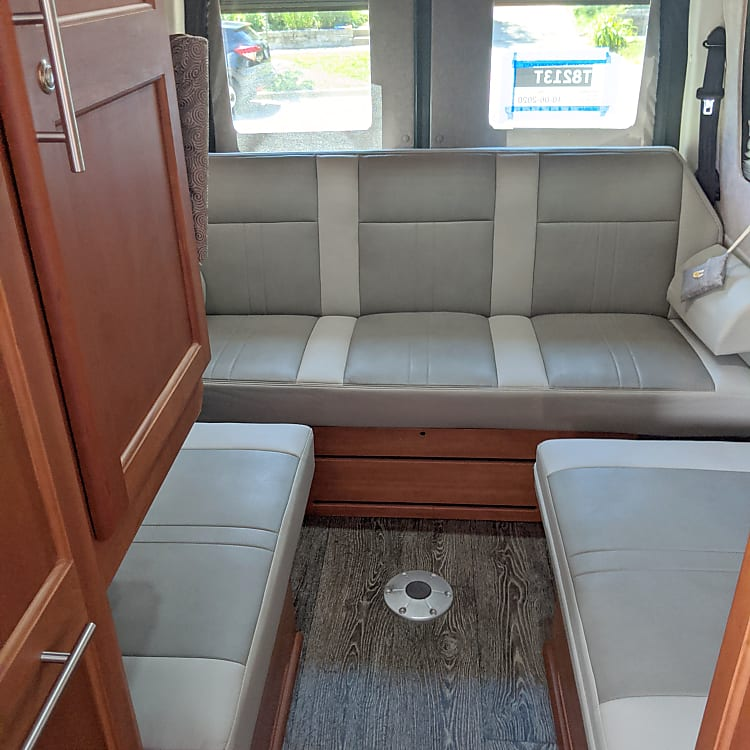 Back of RV with Bench Seat up