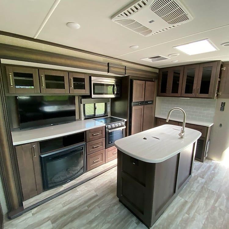 Kitchen, Stove, Double Door Fridge, Electric Fireplace