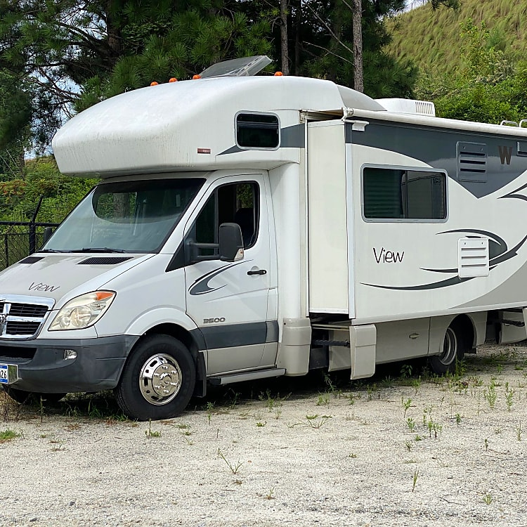 View motor home with full slide extended.
