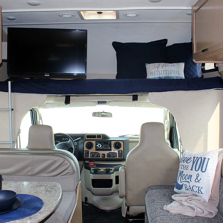 Great cab over bed space with TV