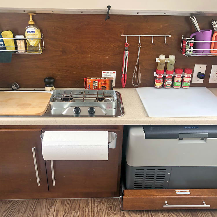 Fully stocked galley kitchen.